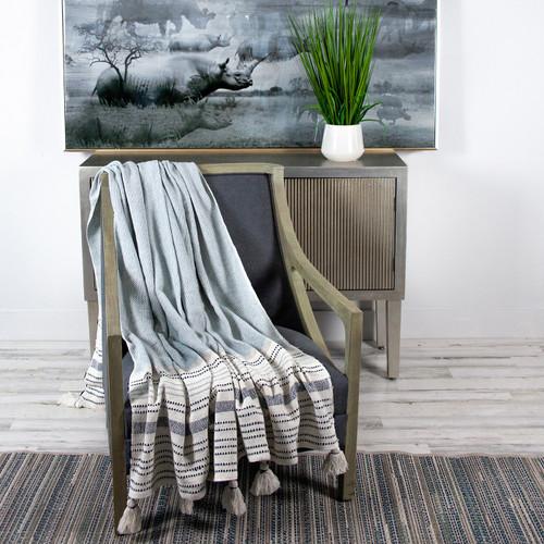 Light Blue and Stripe Handloom Throw Blanket. 383169