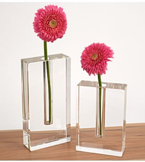"Modern Clear 6"" Block Optical Crystal Vase. 386772"