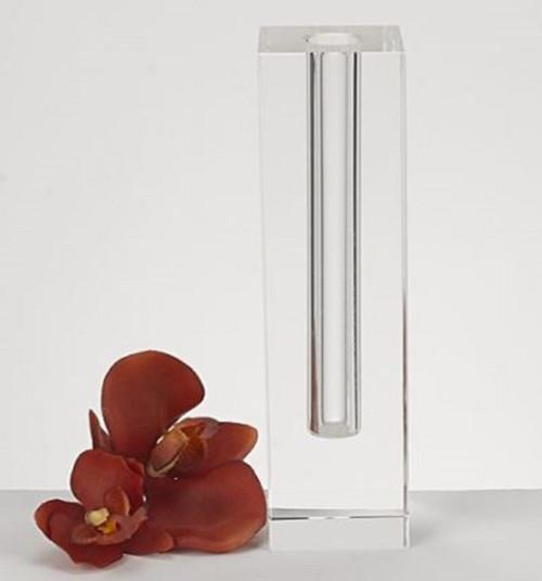 Modern Clear Tall Block Optical Crystal Vase. 386775