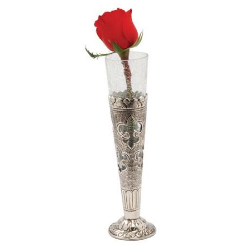 Rustic Fleur de Lis Metal and Glass Cone Vase. 388562