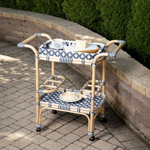 Blue and White Rattan Bar Cart. 388948