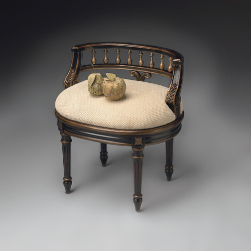 Vintage Black and Brown Vanity Seat. 389155