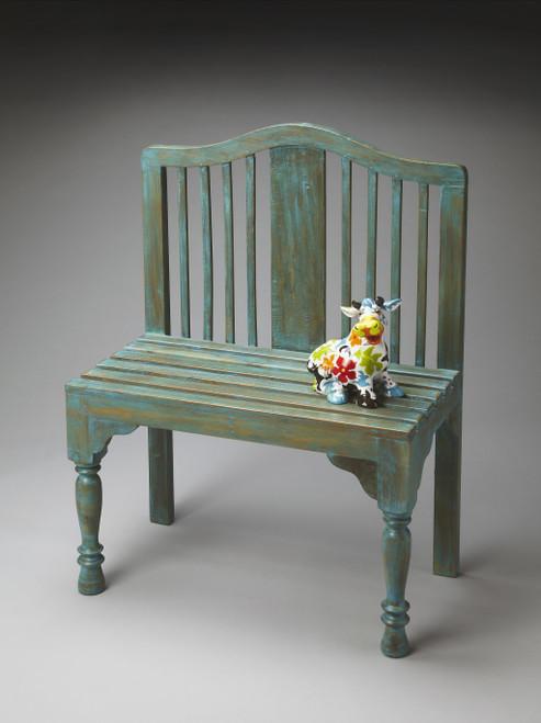 Antiqued Blue Solid Wood Bench. 389166