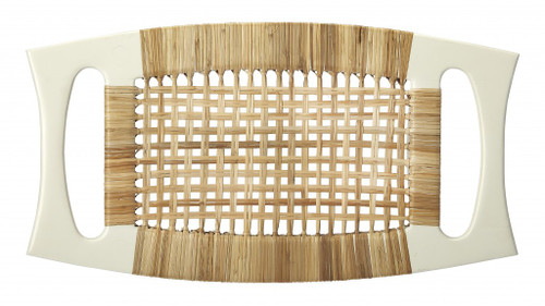 White and Natural Cane Woven Stool. 389205