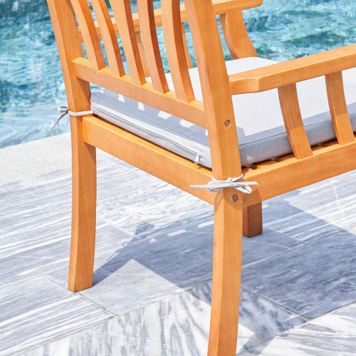 Light Wood Dining Armchair with Vertical Slats. 389992