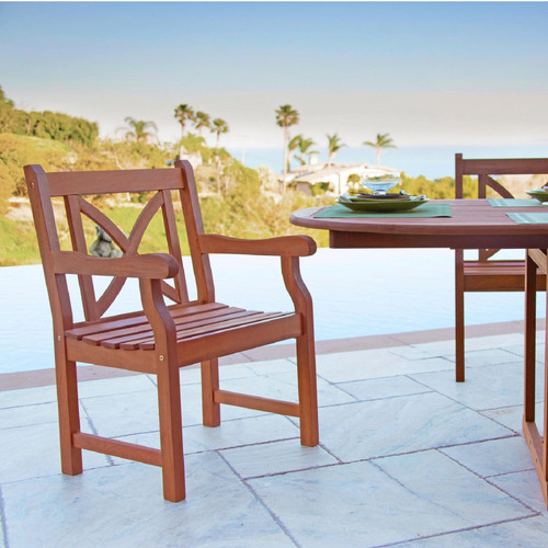 Brown Patio Armchair with Cross Back Design. 389995
