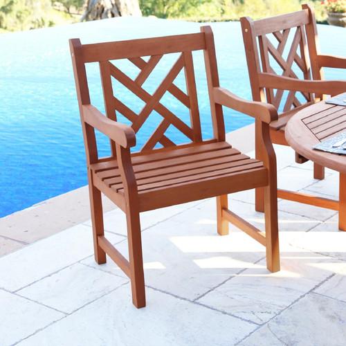 Brown Patio Armchair with Diagonal Design. 389996