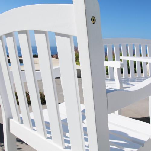 White Patio Armchair with Horizontal Slats. 390002