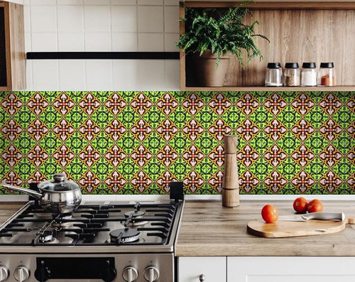 """4"""" X 4"""" Green Leva Removable Peel And Stick Tiles. 391582"""