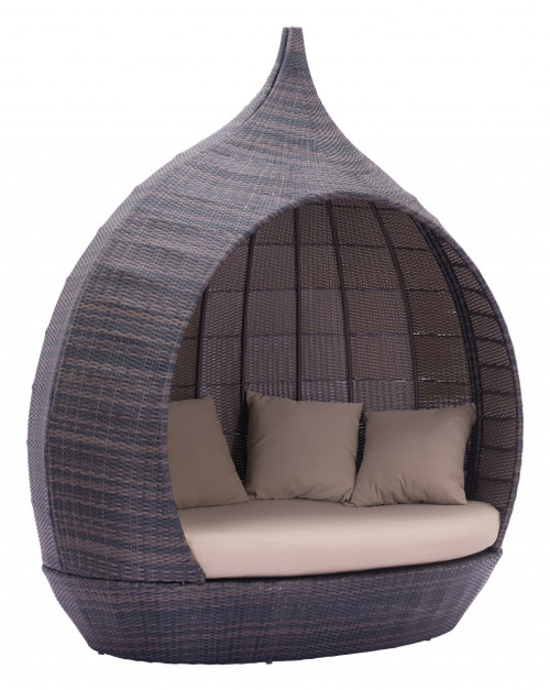Teardrop Shaped Brown and Beige Daybed. 392017