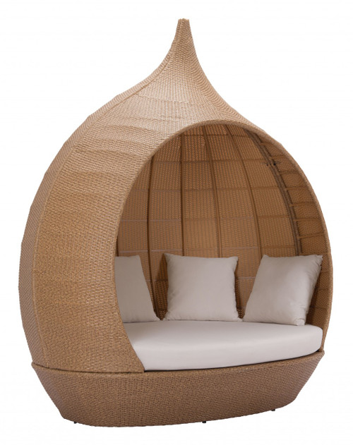 Teardrop Shaped Beige and Natural Daybed. 392018
