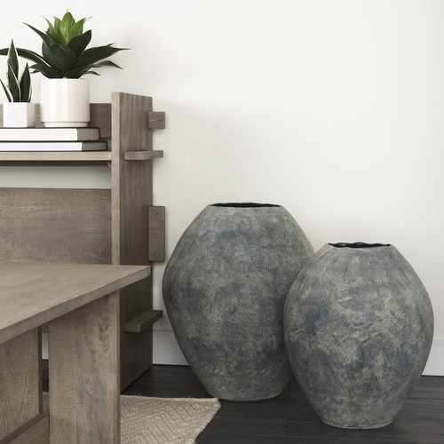 "Kyros Gray 28"" Earthy Ceramic Oval Vase. 392193"