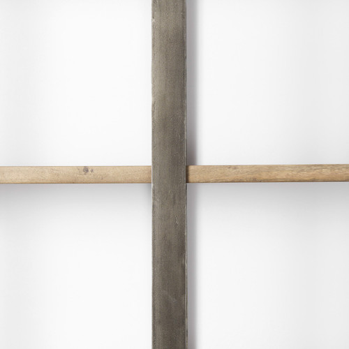 Silver Iron Framed Wooden Shelving Unit. 392228