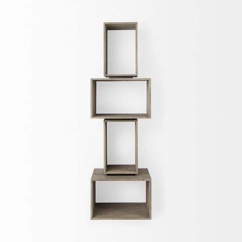 Set of Two Rustic Light Gray Brown Cube Box Shelves. 392231