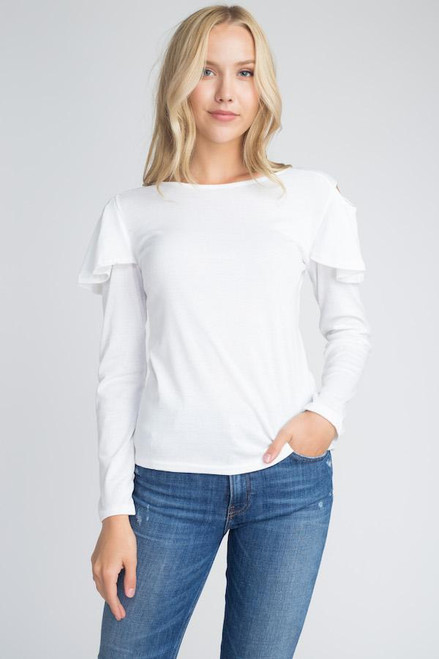 Women's Cold Shoulder Ruffle Long Sleeve Top White