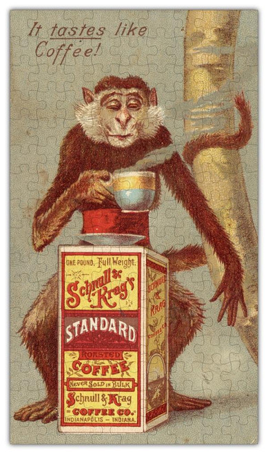 Coffee Monkey Vintage Poster Wooden Jigsaw Puzzle