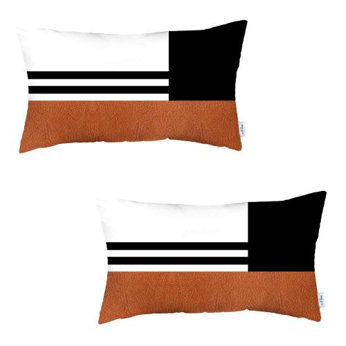Set of 2 Brown Geometric Lumbar Pillow Covers. 392808
