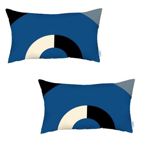 Set of 2 Blue Modern Lumbar Pillow Covers. 392810