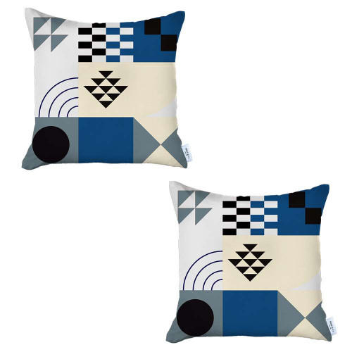 Set of 2 Blue and Ivory Printed Pillow Covers. 392811