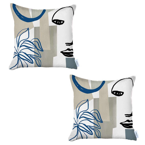 Set of 2 Blue and Ivory Printed Pillow Covers. 392812