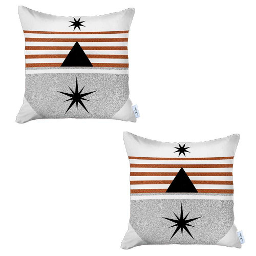 Set of 2 Orange and Ivory Striped Pillow Covers. 392813