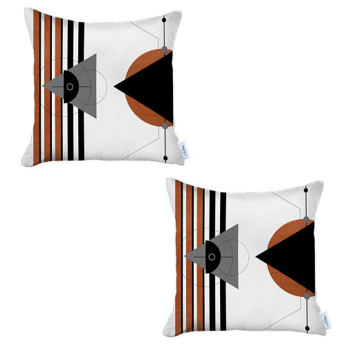 Set of 2 Orange and Ivory Boho Chic Pillow Covers. 392815