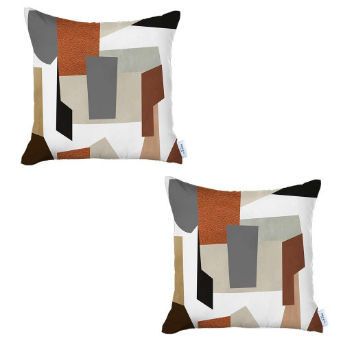 Set of 2 Ivory and Orange Geometric Pillow Covers. 392816