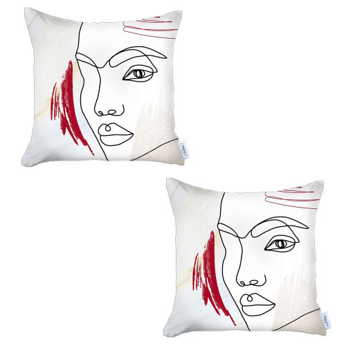 Set of 2 Ivory Printed Boho Chic Pillow Covers. 392818