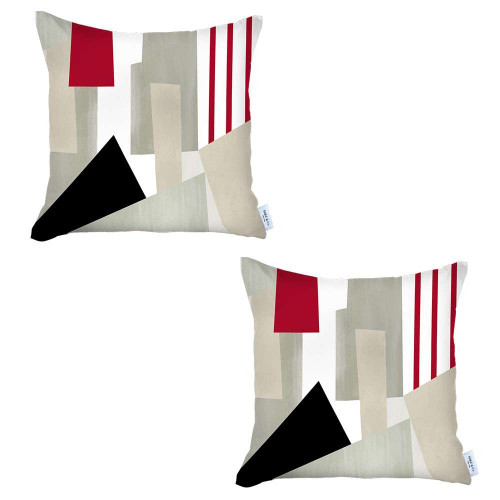 Set of 2 Red and Ivory Printed Pillow Covers. 392819