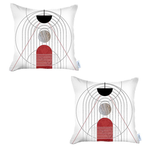 Set of 2 White Eclectic Printed Pillow Covers. 392820