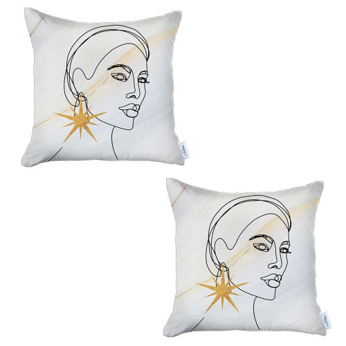 Set of 2 White Printed Art Pillow Covers. 392821