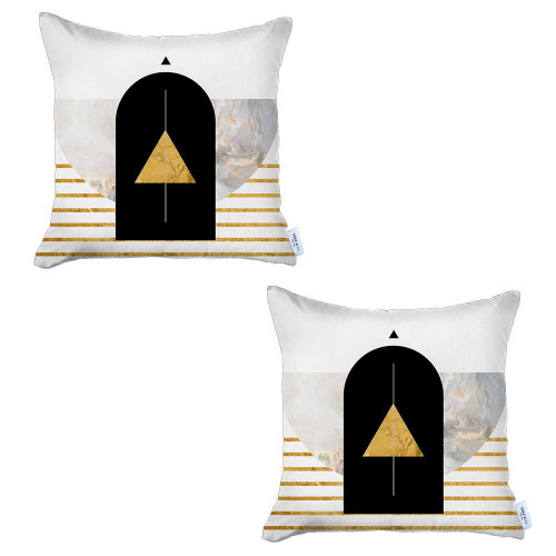 Set of 2 Yellow Geometric Printed Pillow Covers. 392822