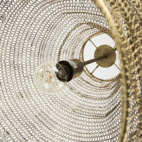 Gold Metal Wire Mesh Hanging Pendant Light. 392847