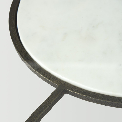 Iron Glass and Marble Round Coffee Table. 393172