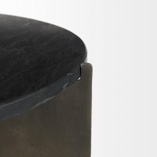 Mod Black Marble Antiqued Nickel Side Table. 393197