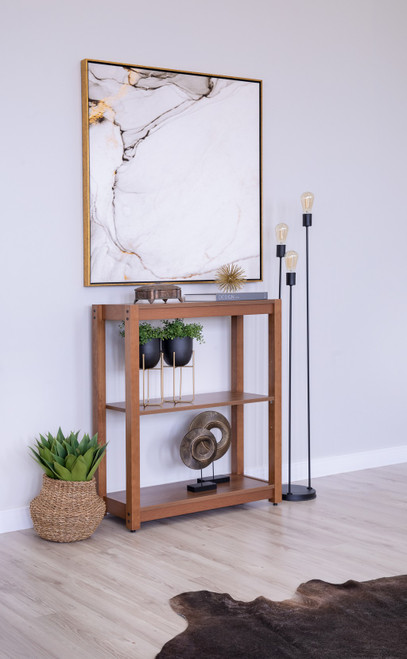 Space Gray Three Tier Low Bookcase. 393242