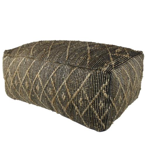 Black Hemp Textured Rectangle Pouf. 393479