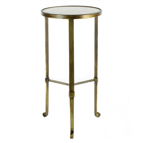 Gold and White Marble Side Table. 393485