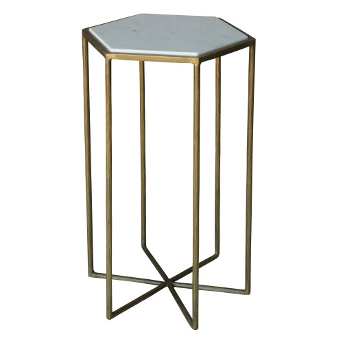 Geometric Gold and White Marble Side Table. 393495