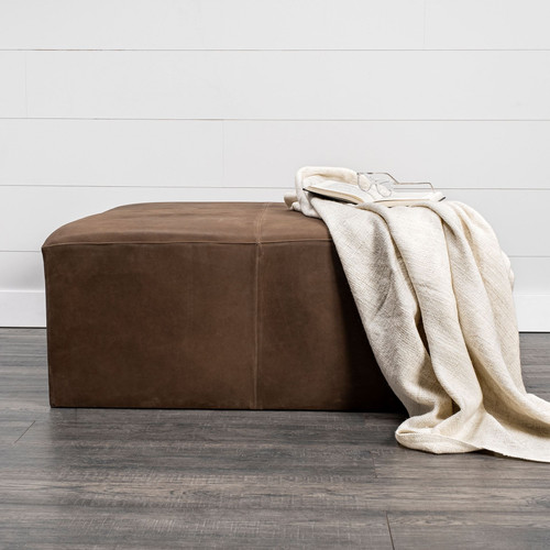 Brown Leather Wrapped Ottoman. 394245