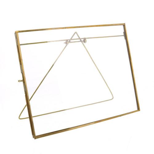 XL Gold Metal Horizontal Glass Frame. 394425
