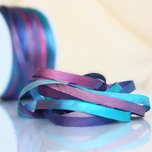 Hand Dyed Silk Embroidery Ribbon, 4mm 98V Aqua/Lilac