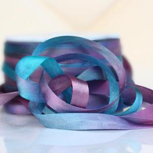 Hand Dyed Silk Embroidery Ribbon, 7mm 98V Aqua/Lilac