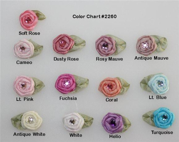 Ribbon Embroidery Coiled/Spider Web Rose w/stone, small