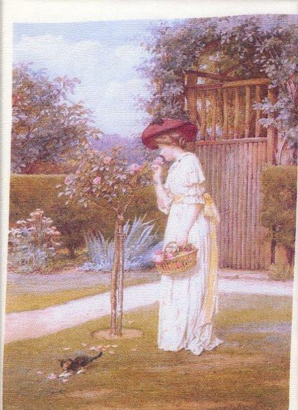 Silk Fabric Panel - Victorian Lady with Kitty