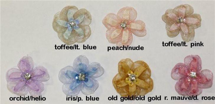 Ribbon Embroidery Organza Five Petal Blossom