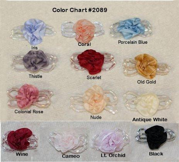 Ribbon Embroidery Beaded Gathered Ribbon Rosette