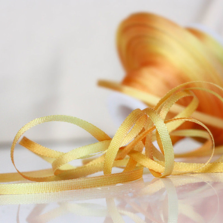 Hand Dyed Silk Embroidery Ribbon, 2mm #56V Orchard Gold