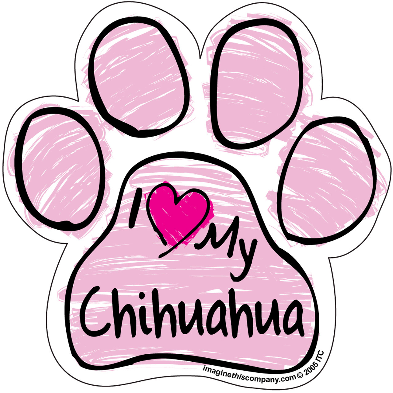 Download I Love My Chihuahua Pink Scribble Paw Magnet ...