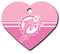 Miami Dolphins PINK Pet ID Tag - With Engraving